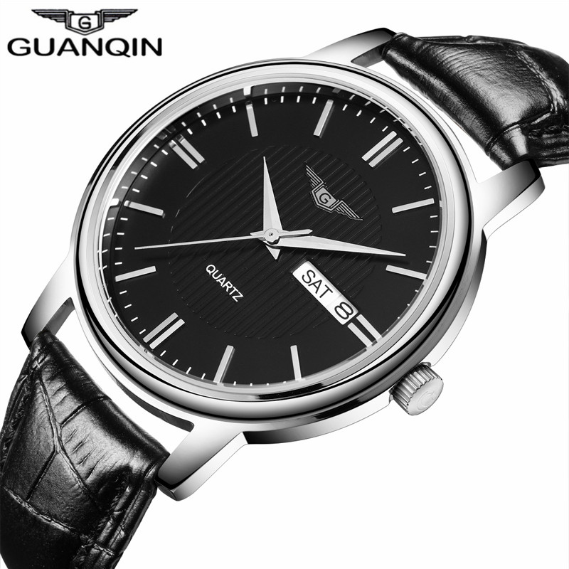 NEW GUANQIN Mens Watches Casual Date Week Quartz Watch Leather Strap Clock Men Wristwatch relogios masculino New Year Gifts men causal military quartz watch silicone stripe strap wristwatch casual sports watches date clock gifts for boy friend ll 17