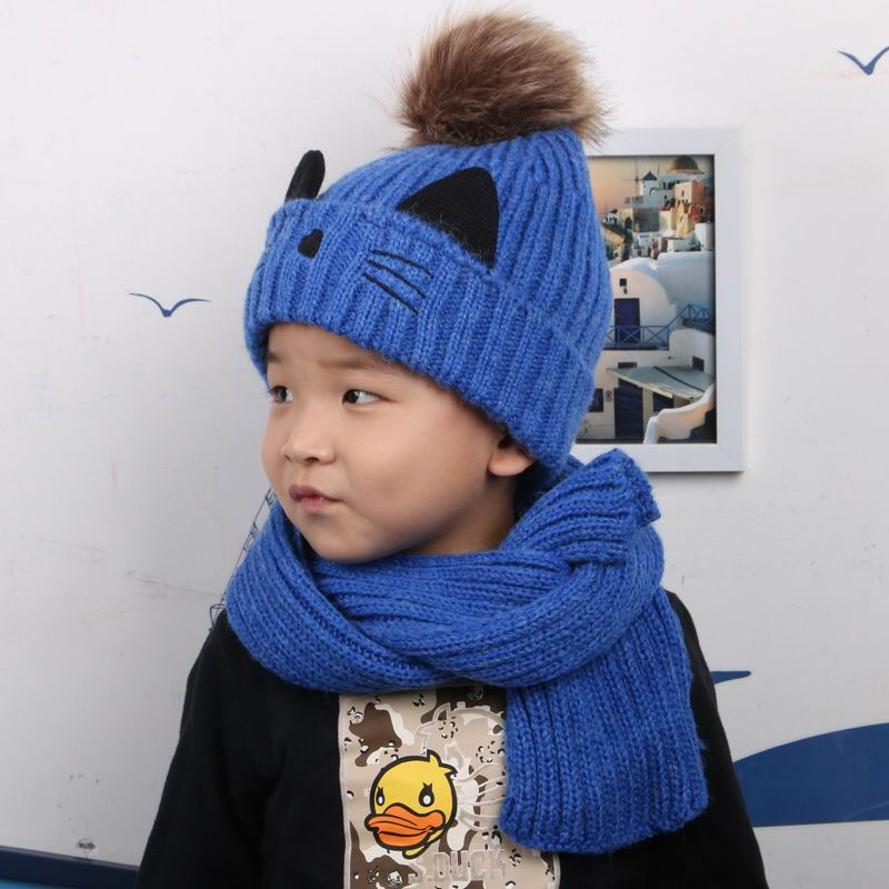 Child 3-7 Years Cap Scarf Twinset Thick Plush Keep Warm Outdoor Ear Protetion Children Thermal Sets Knit Cotton