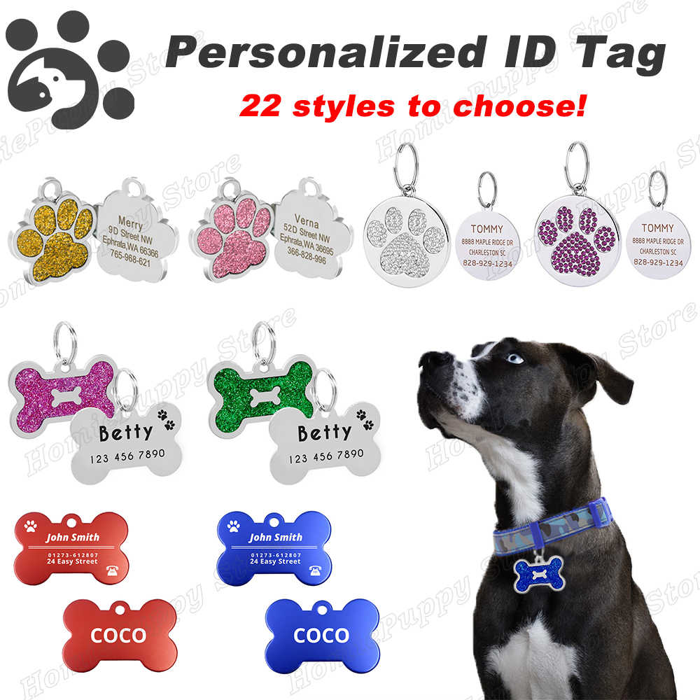 Pet Targhette Identificative Personalizzato Nome Del Cane Tag Piccola Grande Cat Tag Collare Dell'animale Domestico Accessori per Animali Domestici Bone Zampa Scintillio Pastore Tedesco MP0078