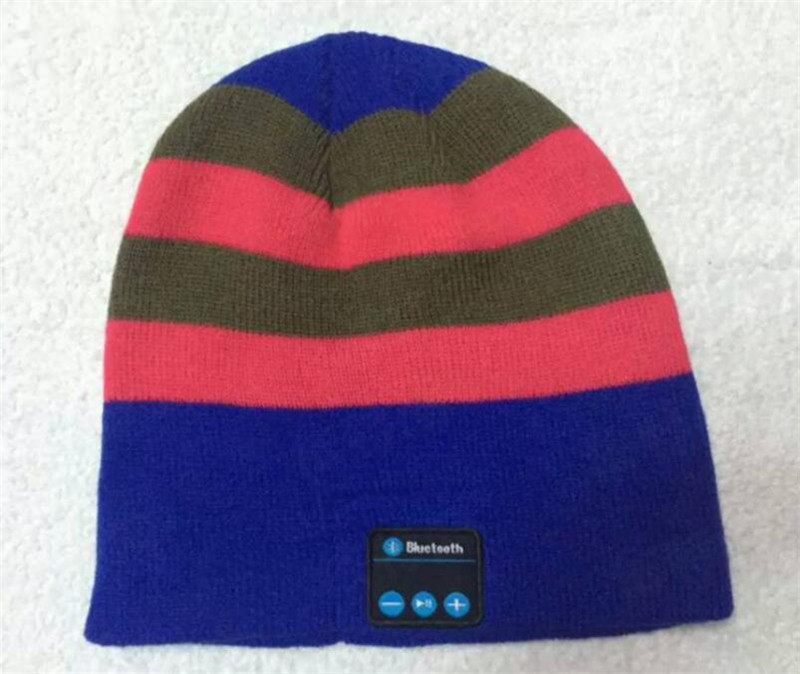 Беспроводной Bluetooth V4.2 Beanie для мальчиков и девочек, мужчин и женщин, вязаная зимняя шапка для наушников, ручной Mp3 микрофон, волшебная музыка, умная шапка+ подарочная коробка - Цвет: Blue Rose Striped