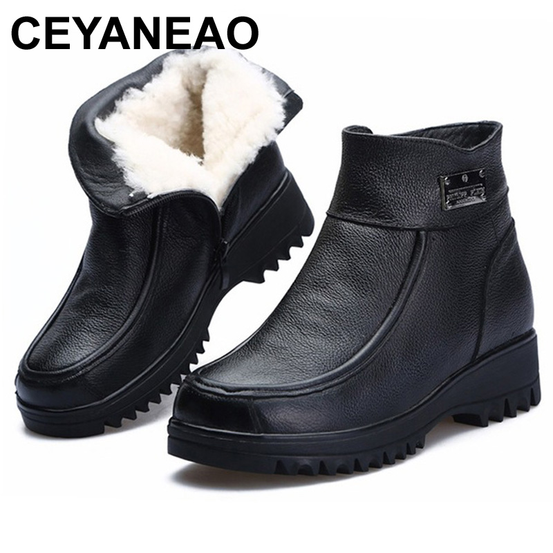 CEYANEAO2019New Winter Ankle Boots Women Snow Boots Natural Wool Genuine Leather Wedge Platform Heel Zipper WarmShort BootsE1258