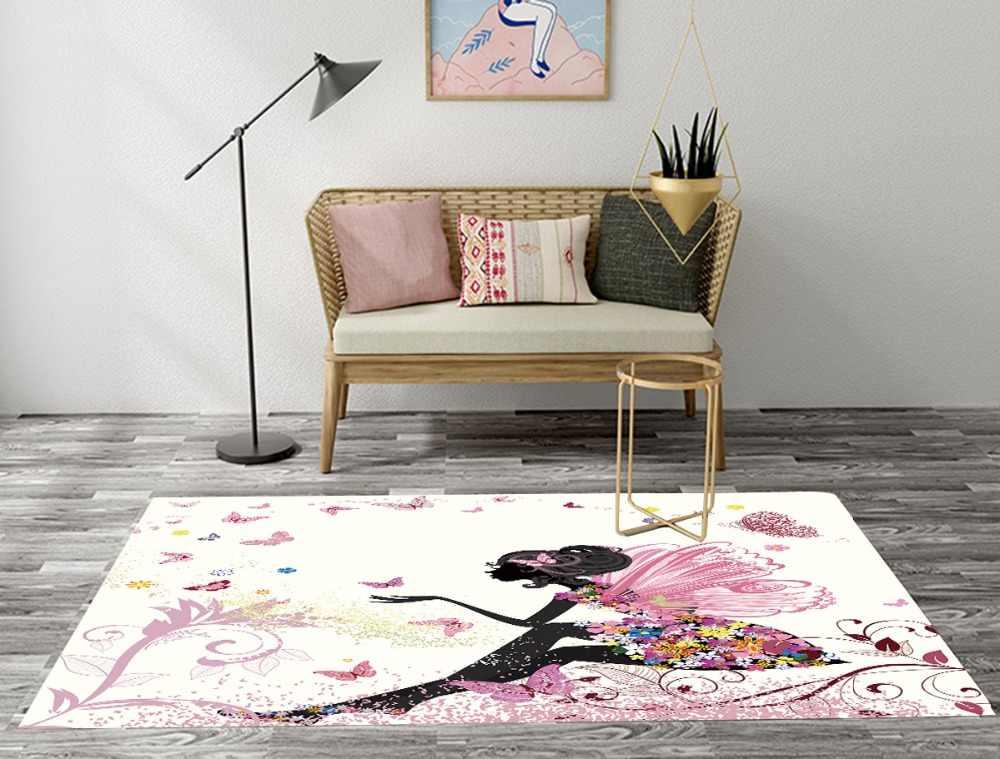 Черные коврики для девочек с бабочкой и цветочные коврики для детей, для дома, для гостиной, большой спальни, прихожей, туалета, кухонный коврик в ванную