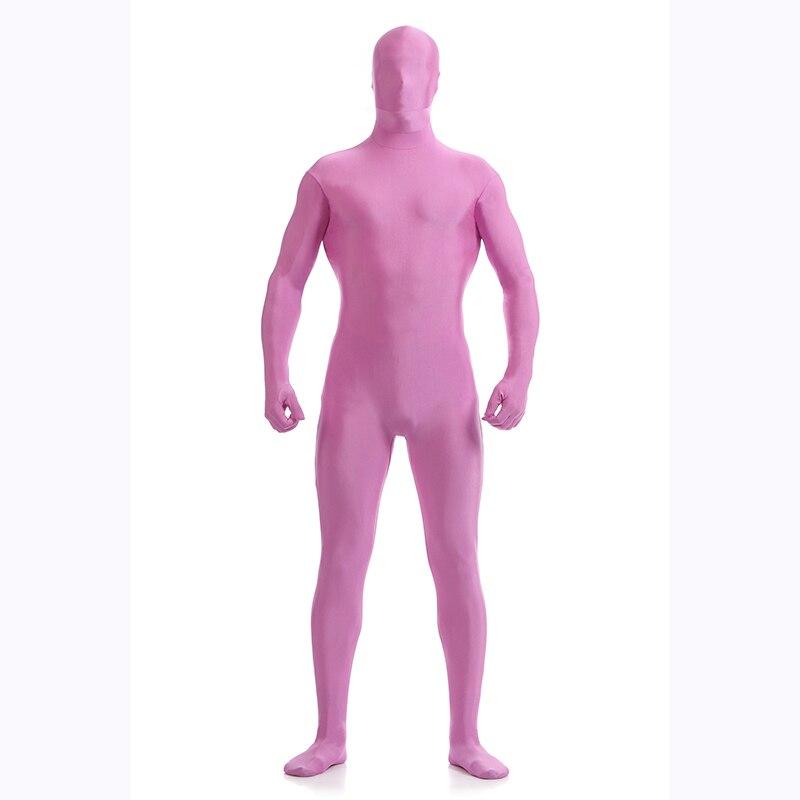 Men's Pink and Purple Spandex Bodysuit Second Skin Lycra Unisex Full Body Zentai Suit Costume For Halloween Unitard Dancewear