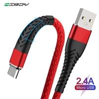 Nylon Geflochtene Micro USB Kabel Daten Sync USB Ladegerät Kabel Für Samsung Huawei Xiaomi Typ C Android Telefon Schnelle Lade draht kabel
