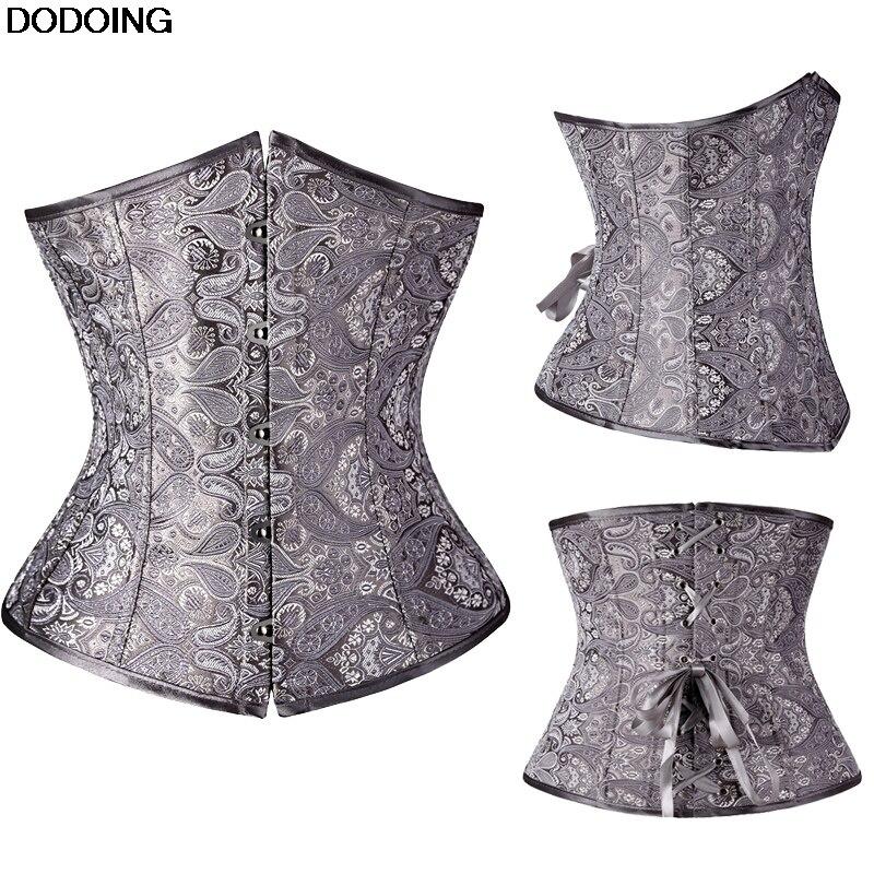 Waist Shaping Underbust Corset High Quality Shapewear Female Intimates Body Slim Jacquard Black Grey Silver Corset Europe Style