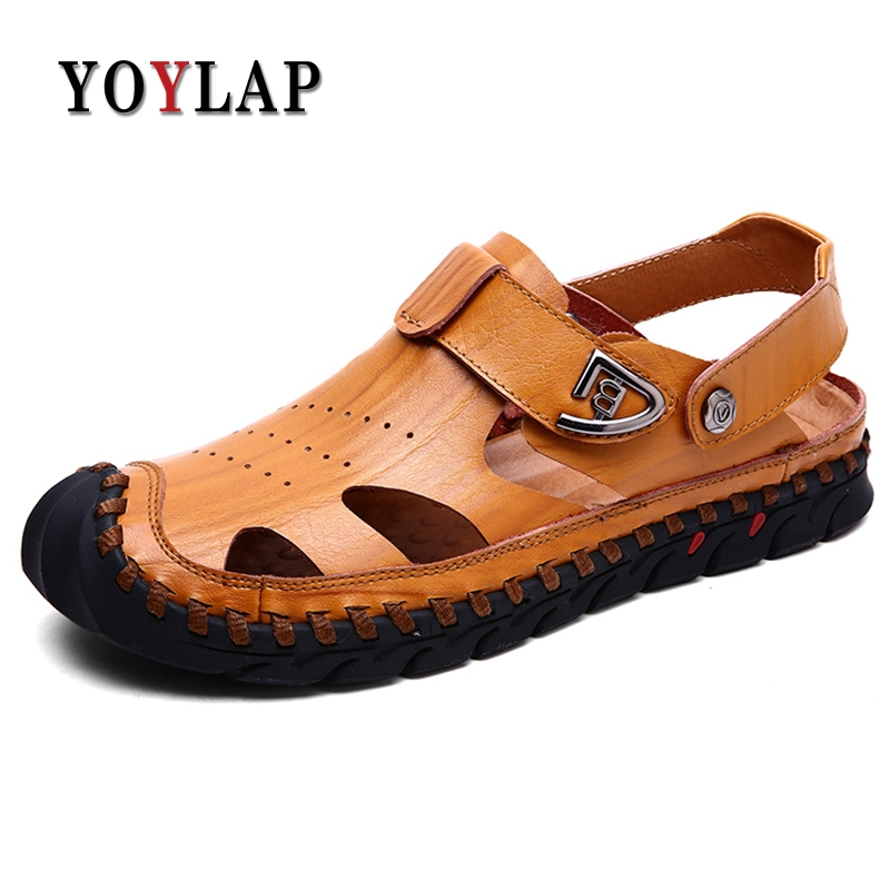 Yoylap Summer New Genuine Leather Men Sandals Fashion Designer Breathable Walking Durable Beach Sandals Men Flats