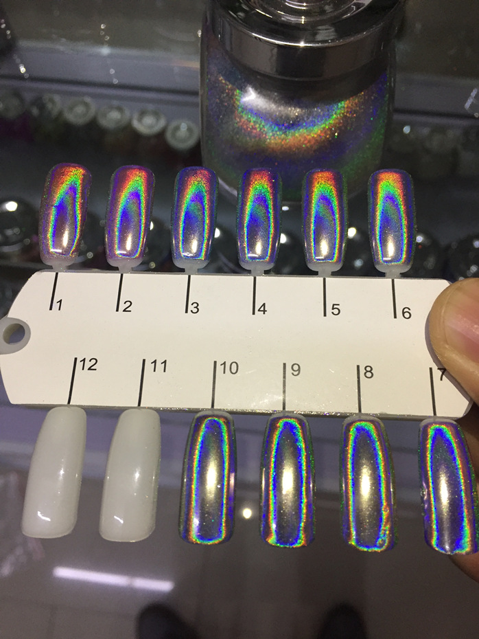 0 5gram box spectrum Super Holographic chrome Rainbow Press on Nails Mirror Mermaid Unicorn False Nails Holo Powder Dust in Nail Glitter from Beauty Health