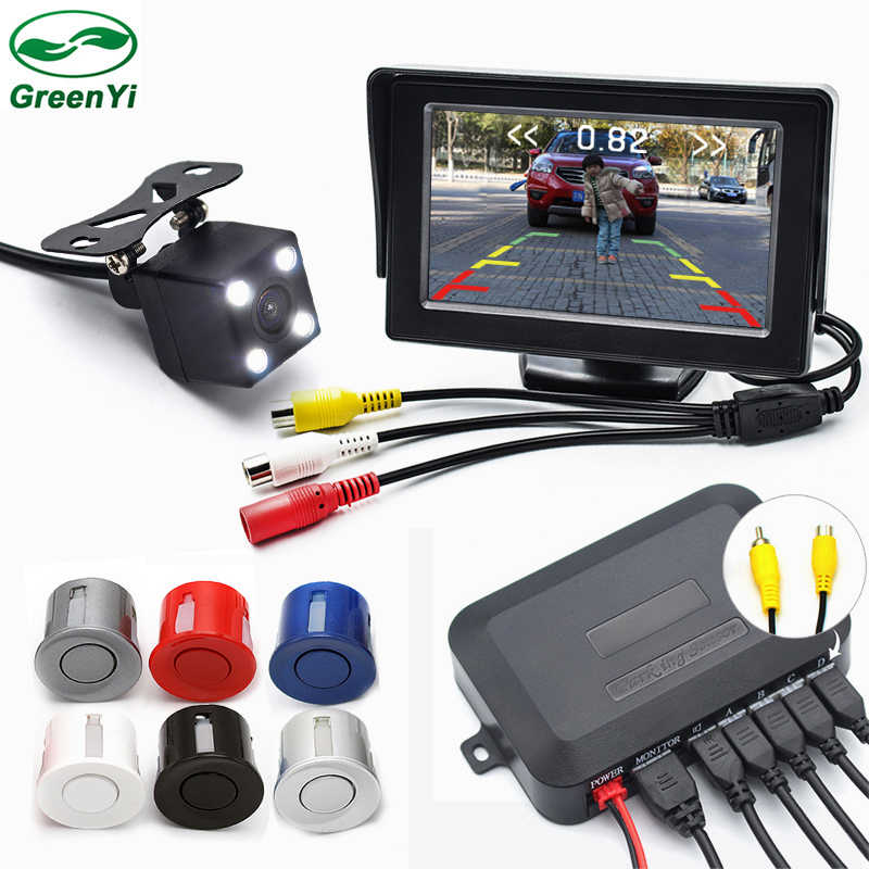 760900da998 GreenYi 3in1 Car Visible Parking Monitor Assistance System . Video Parking  Sensor + Rear View Camera