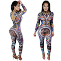 2016 Brand New Long Sleeves O-neck Print Jumpsuits for Women Casual Slim Fit Rompers & Catsuit Women's Bandage Jumpsuits