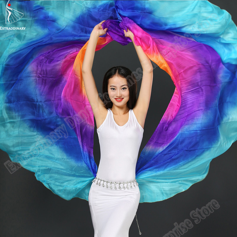 Belly Dance Veils Silk Shawl Veil 260*114cm Women Veil Bellydance Light Silk 5 Colors Stage Performance Accessories