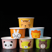 5oz Cartoon Color Ice Cream Cup Eco Friendly Disposable Thick Paper Cake Cup Bowl Take-out Dessert Package 100pcs/lot SK809
