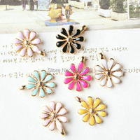 Mix Colour Gold Plated Alloy Drop Of Oil Little Daisy 50pcs Lot DIY Flower Metal Charm