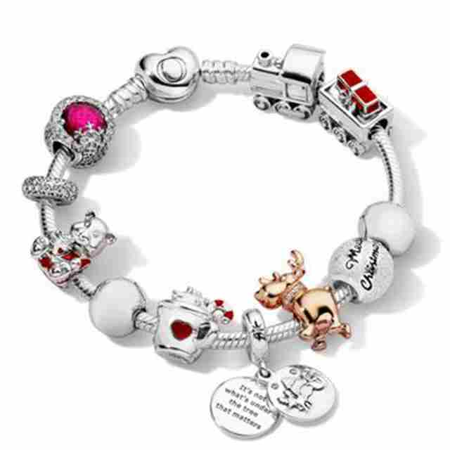 Kristie 100% 925 Sterling Silver Winter Bracelet Set Merry Christmas Charm Dazzling Snowflake Charm ROSE REINDEER BEAR Train Cha