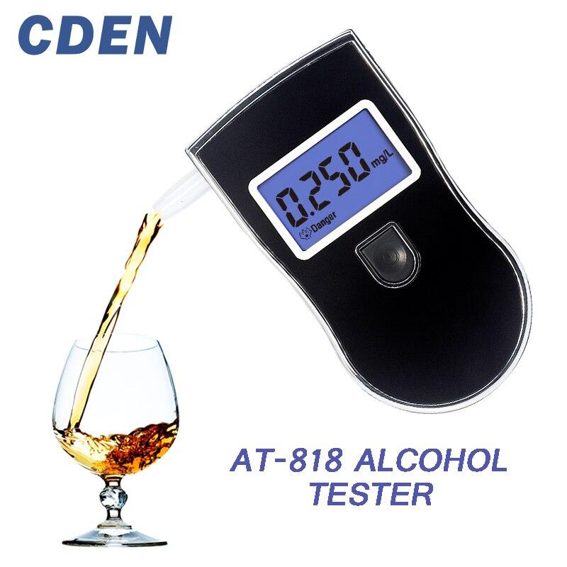 Professionnel Alcohol Tester Police LCD Affichage Numérique Souffle Rapide Réponse Alcootest pour Conducteurs Ivres alcotester AT818