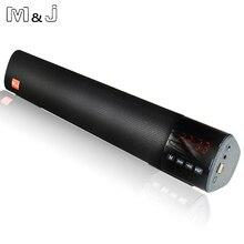 M & J 10 ワットハイファイポータブルワイヤレス Bluetooth スピーカーステレオサウンドバー TF FM USB 3D サラウンドサブウーファー用コンピュータテレビ電話
