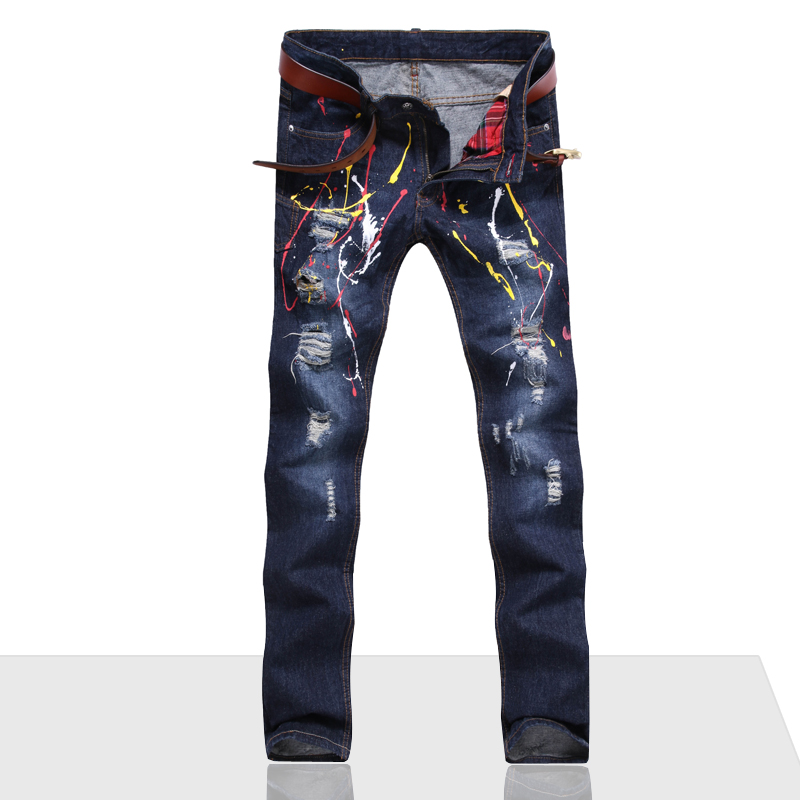 цена на New Men Jeans Ripped Biker Hole Denim Patchwork Straight Punk Rock Embroidery Slim Fit INK Jeans For Men Pants