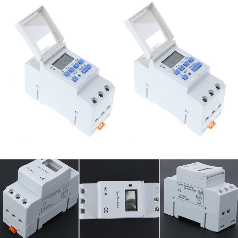 Microcomputer Electronic Switch Weekly Programmable Digital Switch Relay Timer Controller Din Rail Mount kg316t ii digital timer controller ac220v 25a din rail lcd digital programmable electronic timer switch page 9