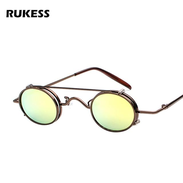 07c218ff391d9 RUKESS Small Oval Steampunk Sunglasses Men Women Retro Metal Clip on Steam  Punk Sun Glasses for