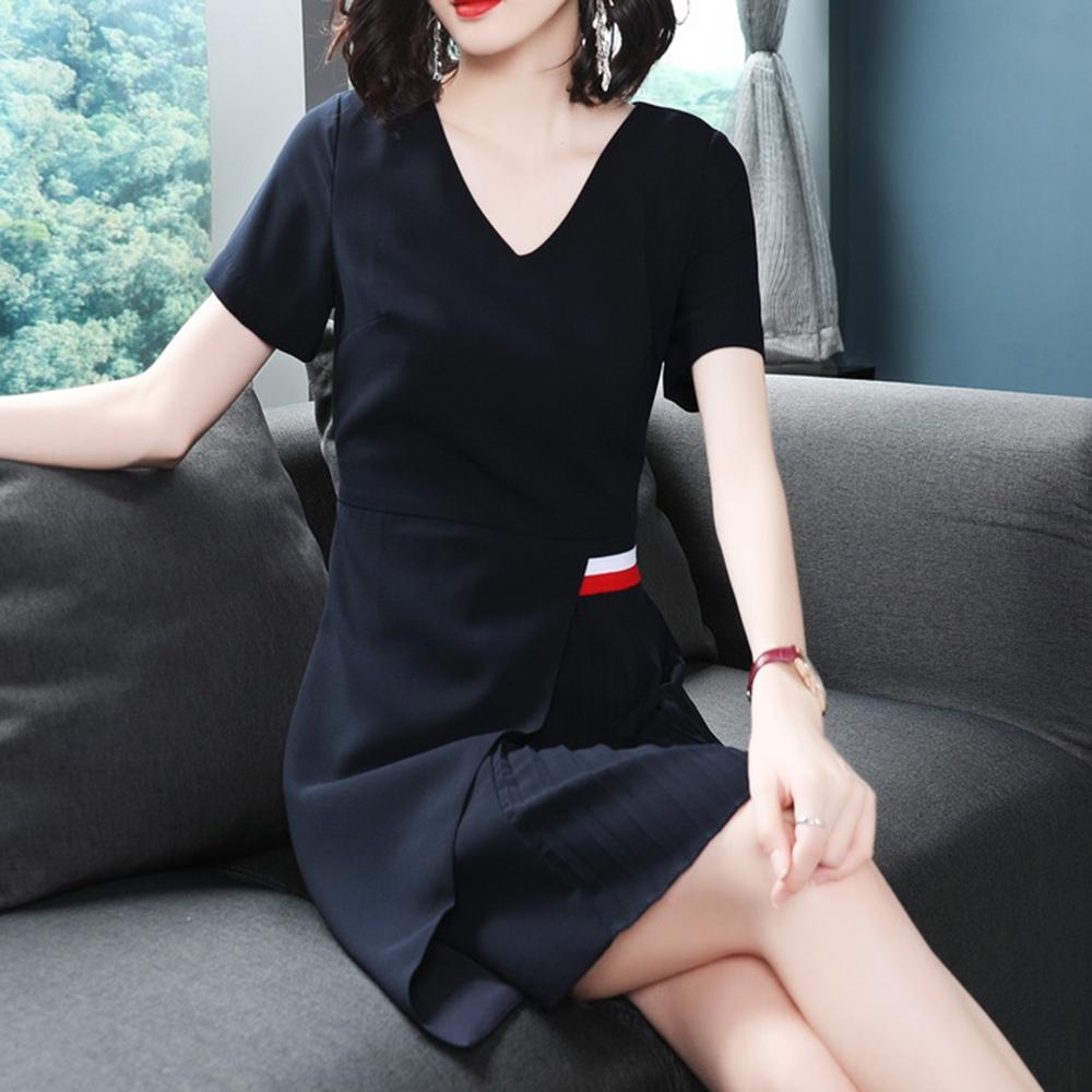 8f779421252 Women a-line summer dress slim female blue fashion pullover v-neck elegant  short sleeve youth temperament t-shirt dresses 2018 1 2 ...