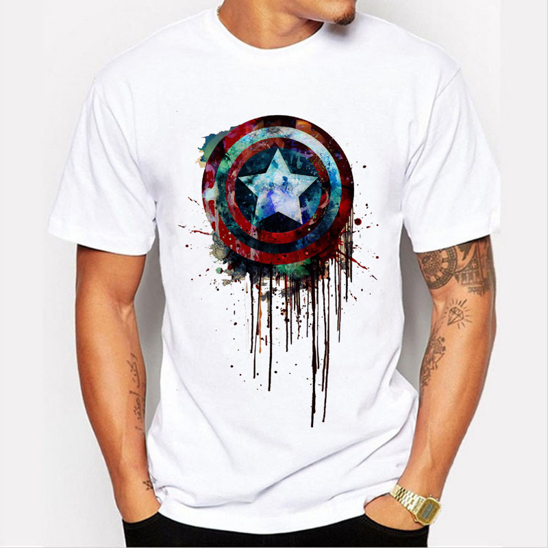 Captain America's shield paint printed t-shirts Super Hero T-Shirt Hulk/Thor Movie T Shirts Geek Tee 90-3#