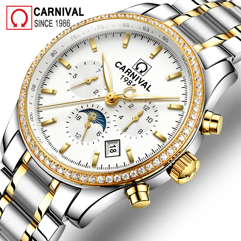Carnival Gold Automatic Watch Men Relogio Moon Phase Mens Mechanical Watches Top Brand Luxury Malek Clock Calendar montre homme carnival iw mens mechanical watches top brand luxury automatic watch men stainless steel moon pashe calendar clock reloj hombre