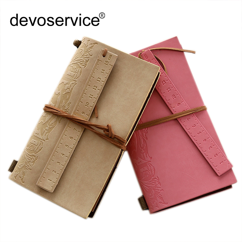 European-style Retro Leather Notepad Lace Blank Kraft Paper Inside The Notebook With Ruler Student Stationery Office Supplies