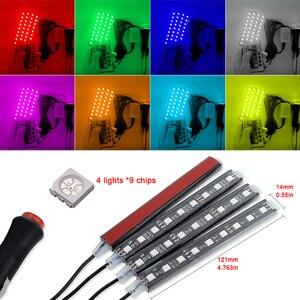 Image 3 - 4 sztuk samochodów listwy RGB LED taśmy oświetleniowe LED światła kolory samochodów stylizacja dekoracyjna lampy tworzące nastrój samochodów wewnętrzna lampka z pilotem 12V