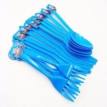 30pcs  Disposable Plastic Spoons Birthday Decoration Kids Babyfavor Supplies Favors Set