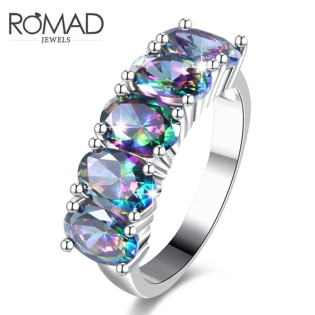 648bc92a0a81 Personalidad de moda colorido oval piedra de cristal anillos mujeres  exquisita moda joyería oro blanco color