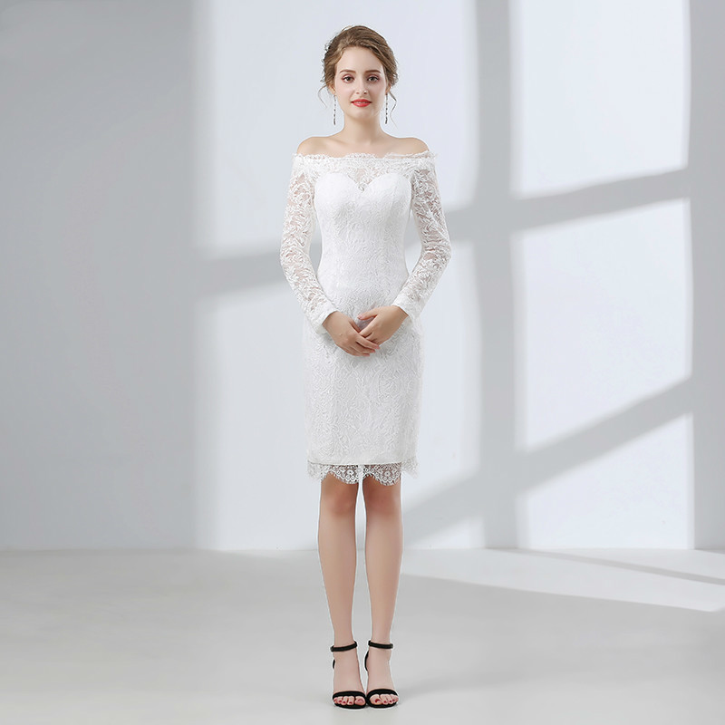 Backlackgirl High Quality White Beautiful Elegant Lace Up Short Wedding Dress 2018 Boat Neck Long Sleeve Plus Size Wedding Dress