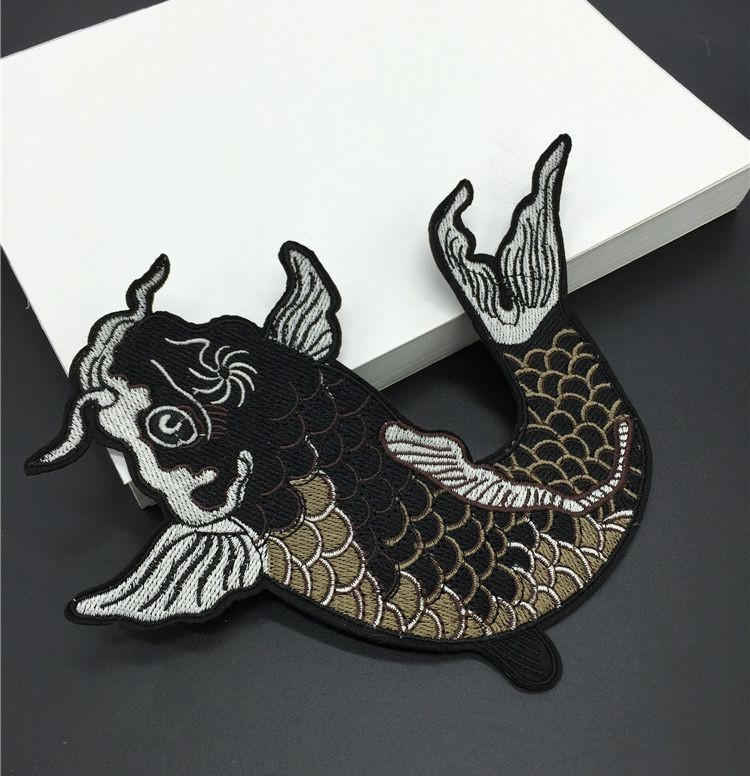 1pcs big fish embroidered patches iron on or sewing for clothes applique diy accessory suppliers sticker fashion patches lshb352