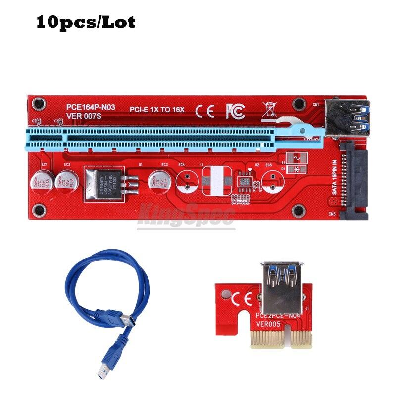 bilder für 10 teile/los für Bitcoin mining maschine Riser Neueste version 007 S PCI-E PCI Express E 1X zu 16X Riser Card für BTC miner
