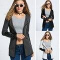 New Women Casual Knitwear Synthetic Leather Splicing Cardigan Long Coat Outwear