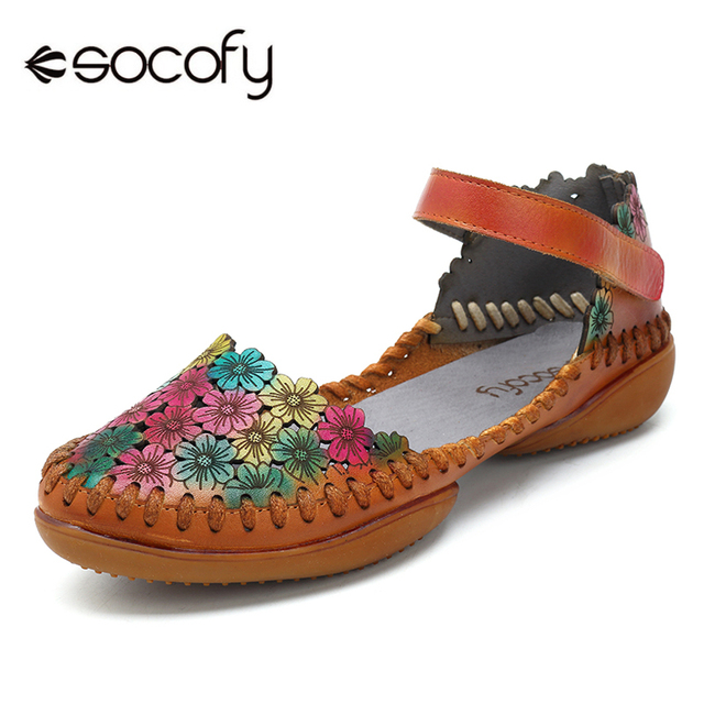 9a96380a178 Socofy Handmade Daisy Flower Flats Genuine Leather Mary Jane Shoes Woman  Retro Summer Spring Women Shoes
