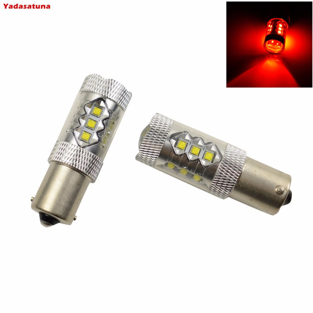 2x High Power Red 1156 BA15S LED Bulbs 80W For Car DRL, Turn Signal Backup Reverse Lights and Brake Stop Light Canbus for Cars