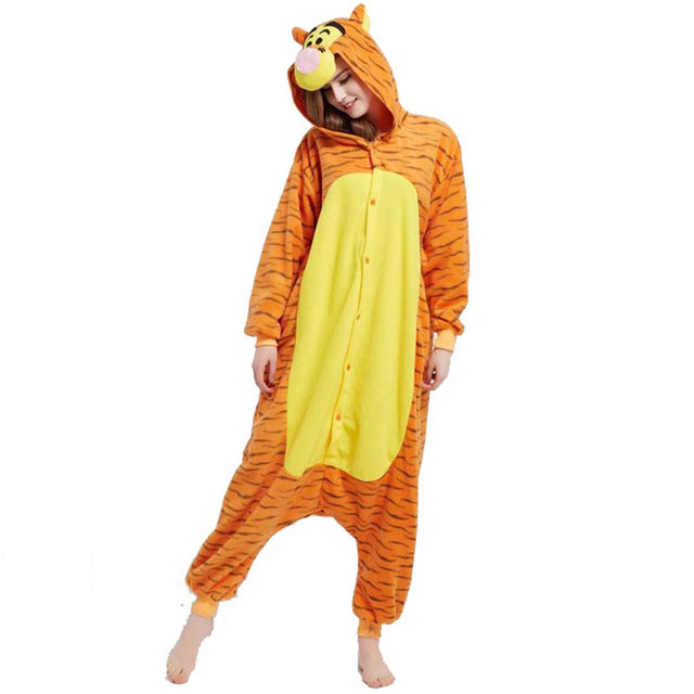 1abd71536745 Fleece Orange Tiger Kigurumi Animal Jumpsuit For Adult Onesie Pajamas Women Sleepwear  Pyjamas Cosplay Home Carvinal Party
