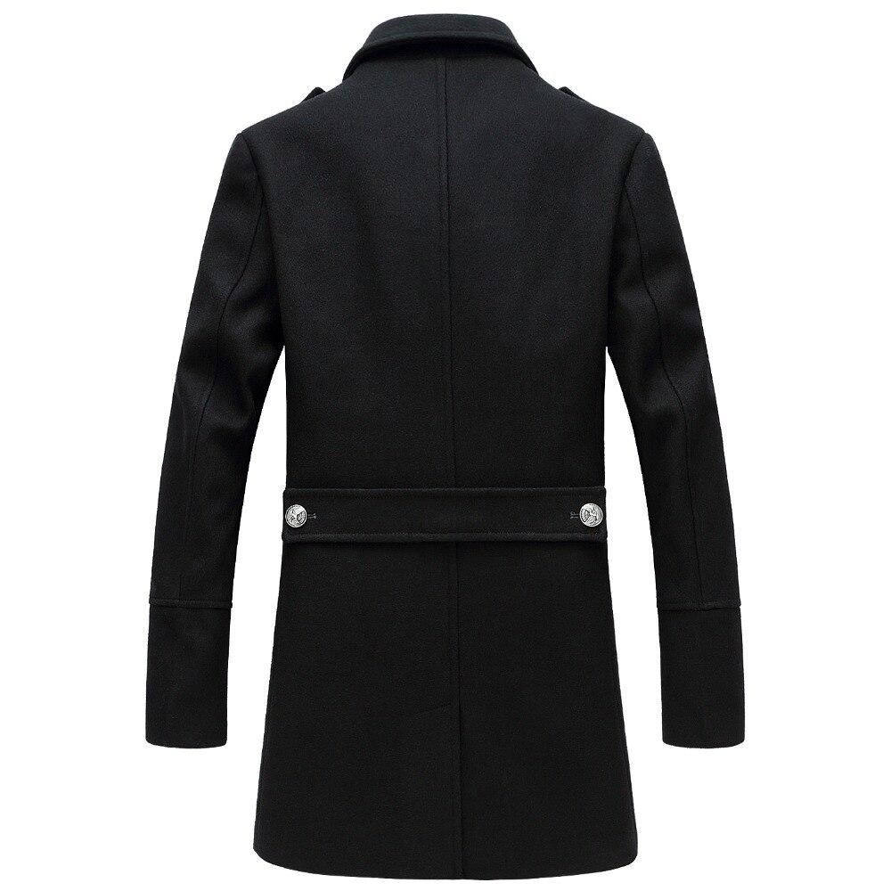 Shanghai Story 2018 hiver décontracté Double boutonnage manteau hommes col montant Slim Fit Long Trench manteau hommes laine pois manteau 2 couleurs - 5