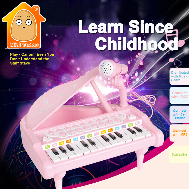 MiniTudou Keyboard Musical Instruments Toy Piano With Microphone Electronic Learning Education Toys For Girl