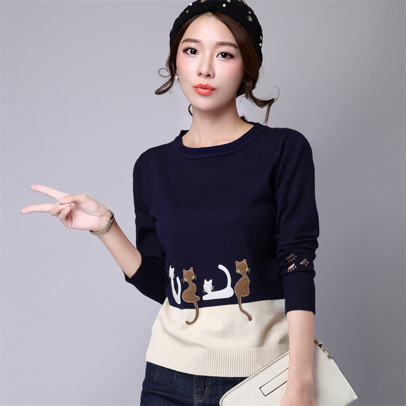 Women Cartoon Cat Embroidery Sweater 2016 Mori Girl Cotton Spell Color Pullover Long Sleeve O Neck Cat Embroidery Knit Sweater