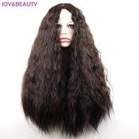 JOY BEAUTY 24 Long Synthetic High Temperature Fiber Hair Long Curly Wig Black Brown Mix Women