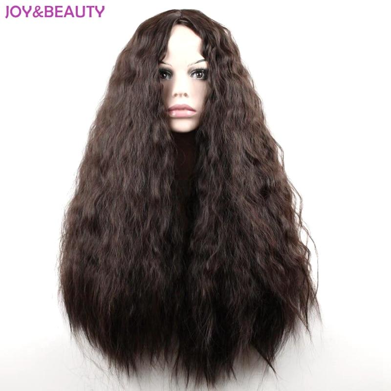 """Glädje och skönhet 24 """"lång syntetisk hög temperatur fiber hår lång lockig peruk svart / brun blanda kvinnor cosplay peruk"""