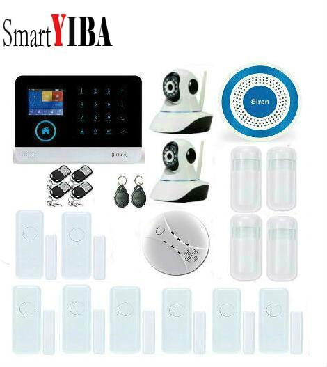 SmartYIBA APP Control Wireless WIFI 3G WCDMA Home Security Burglar Alarm Systems Video IP Camera Smoke Fire Sensor Detector
