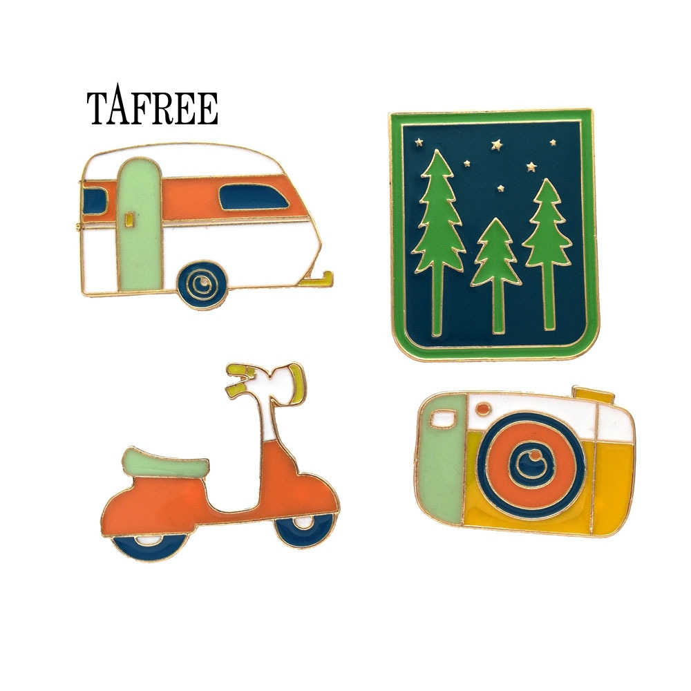 TAFREE Forest,Camera,electrombile,Car Badge Colourful Enamel Lapel Pins Fashion Brooch Alloy Jewelry For bag Pins Up LP182