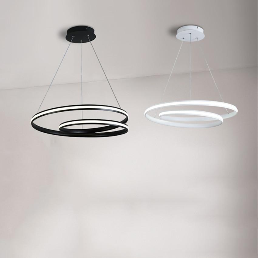 Modern Lights Chandelier White/black Circle Rings LED Pendant Lamps Suspension Hanging Living Room Bedroom Dining Room Luminaria