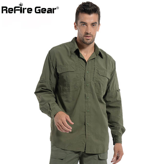 48718de794a5 Men Lightweight Urban Tactical Shirt Quick Dry Army Cargo Military Shirt  Summer Male Casual Clothes Breathable