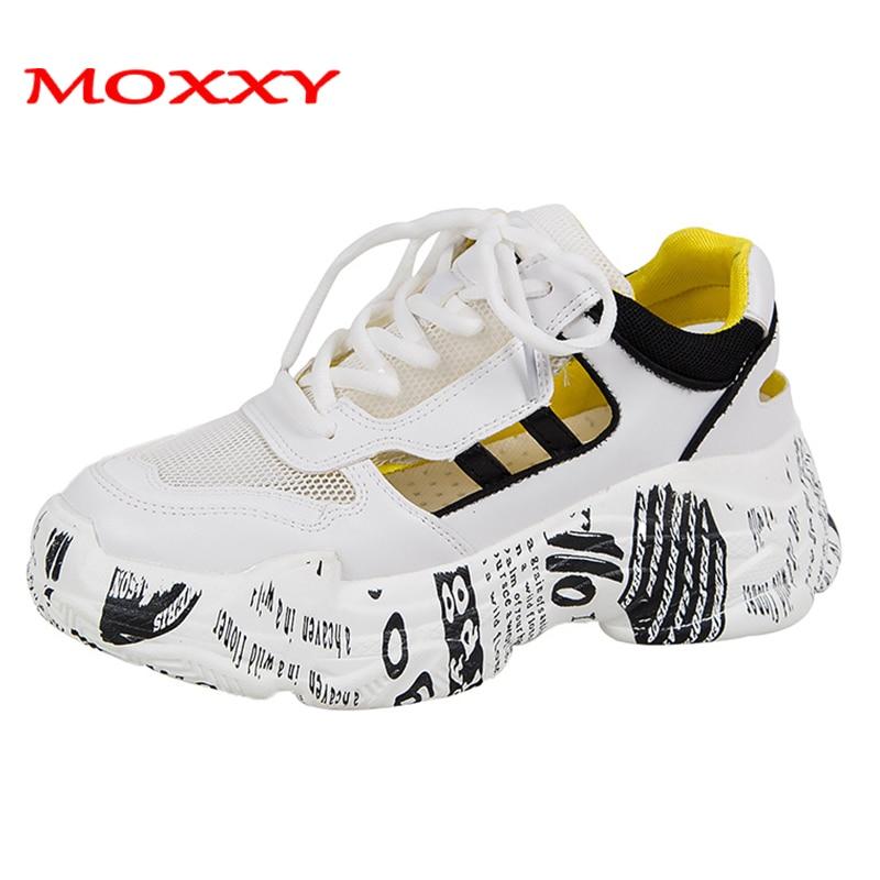 Women Sneakers 2019 Summer Graffiti White Sneaker Women Mesh Casual Female Shoes Woman Thick Sole Platform baskets femme sneaker