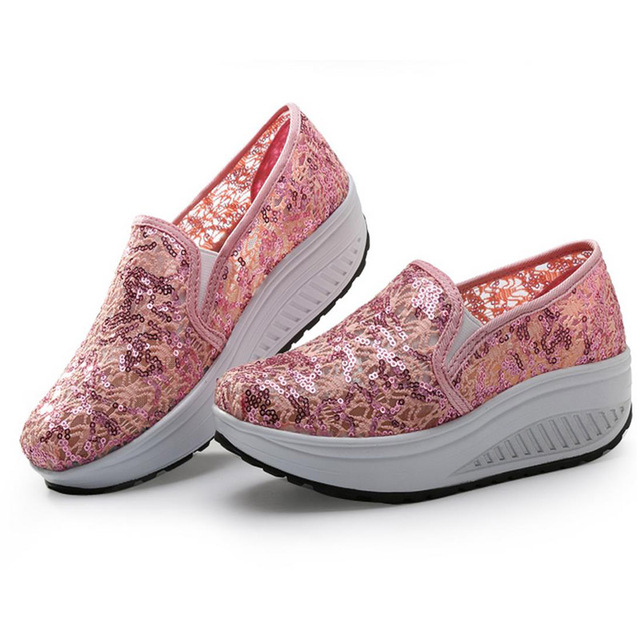 2017spring new wome wave platform lace breahable shoes shallow slip on casual beach lazy shoes student lazy single shoes