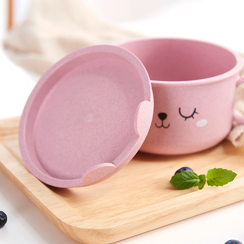 050 Cartoon Wheat straw double ear blanching cover children bowl Soup bowl 18 11 5cm in Bowls from Home Garden