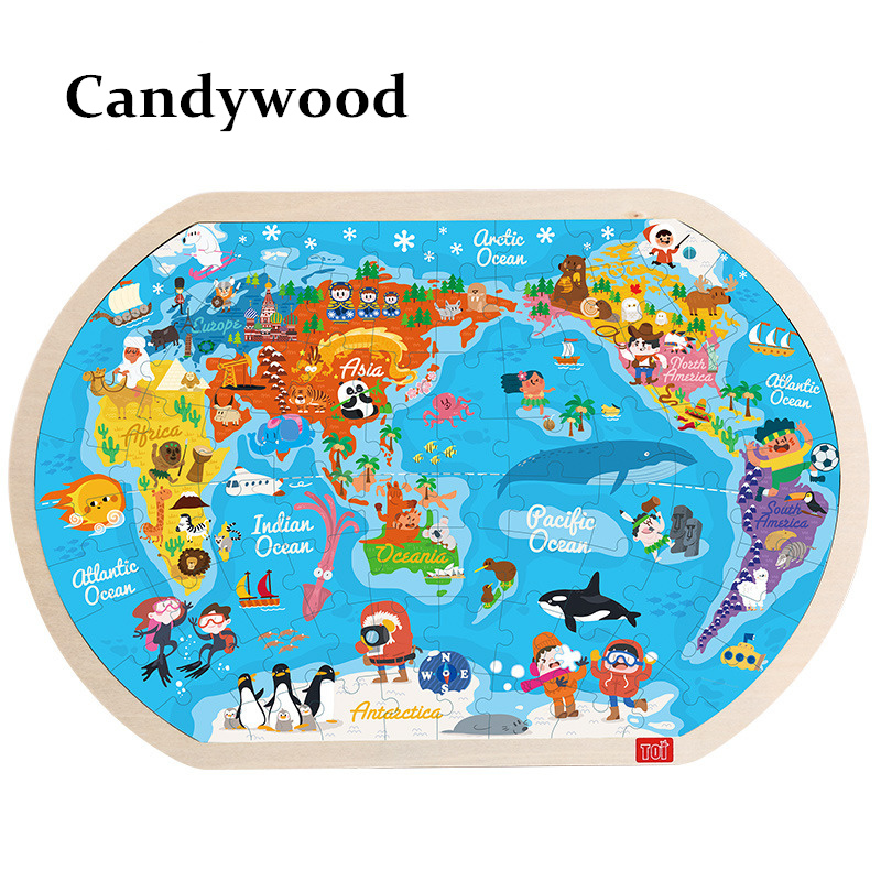 45*30 CM Large The World Map Puzzle Kids Wooden Toys Children Early Learning Education Toys for Child Map of World jigsaw Puzzle learning carpets us map carpet lc 201