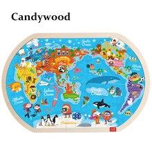 Rompecabezas grande con mapa del mundo para niños, 45x30 CM, juguetes de madera, Juguetes educativos de Aprendizaje Temprano